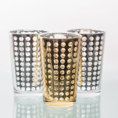 Richland Gold Dotted Glass Holder - Large Set of 48