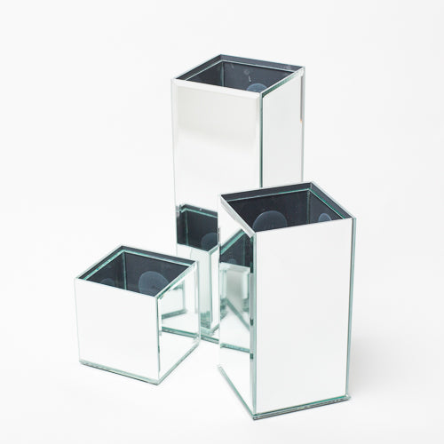 "Richland 8"" Mirrored Square Vase Set of 6"