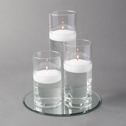 "Eastland Round Mirror and Cylinder Vase Centerpiece with Richland 3"" Floating Candles Set of 4"