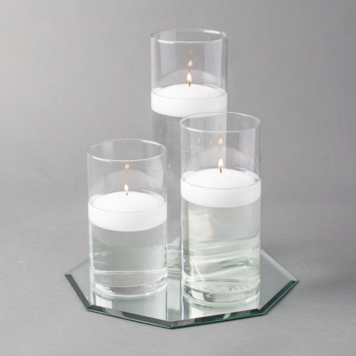 "Eastland Octagon Mirror and Cylinder Vase Centerpiece with Richland 3"" Floating Candles Set of 48"