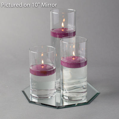 "Eastland Octagon Mirror and Cylinder Vase Centerpiece with Richland 3"" Floating Candles Set of 4"