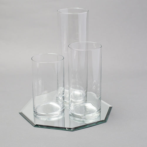 Eastland Octagon Mirror and Cylinder Vase Centerpiece Set of 4