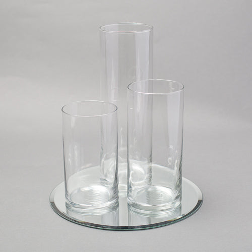 Eastland Round Mirror and Cylinder Vase Centerpiece Set of 48