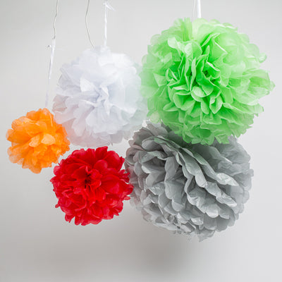 "Richland 6"" Tissue Paper Pom Poms, Green Set of 10"