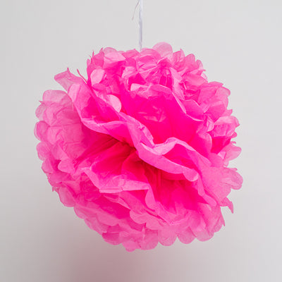 "Richland 14"" Tissue Paper Pom Poms, Fuchsia Set of 10"