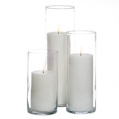 richland 4 white pillar candles 5 eastland cylinder holders set of 3