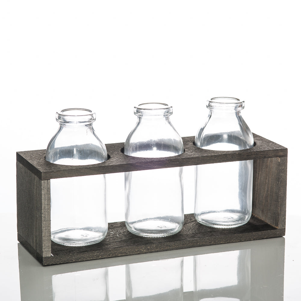 richland vintage milk bottle vases with wooden stand set of 6