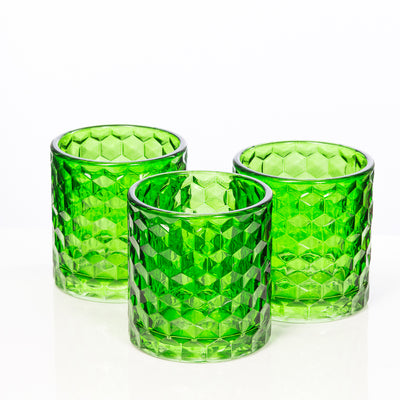 richland green chunky honeycomb glass votive tealight holder set of 24