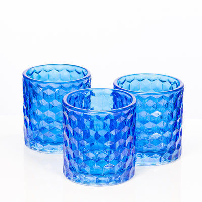 richland blue chunky honeycomb glass votive tealight holder set of 6