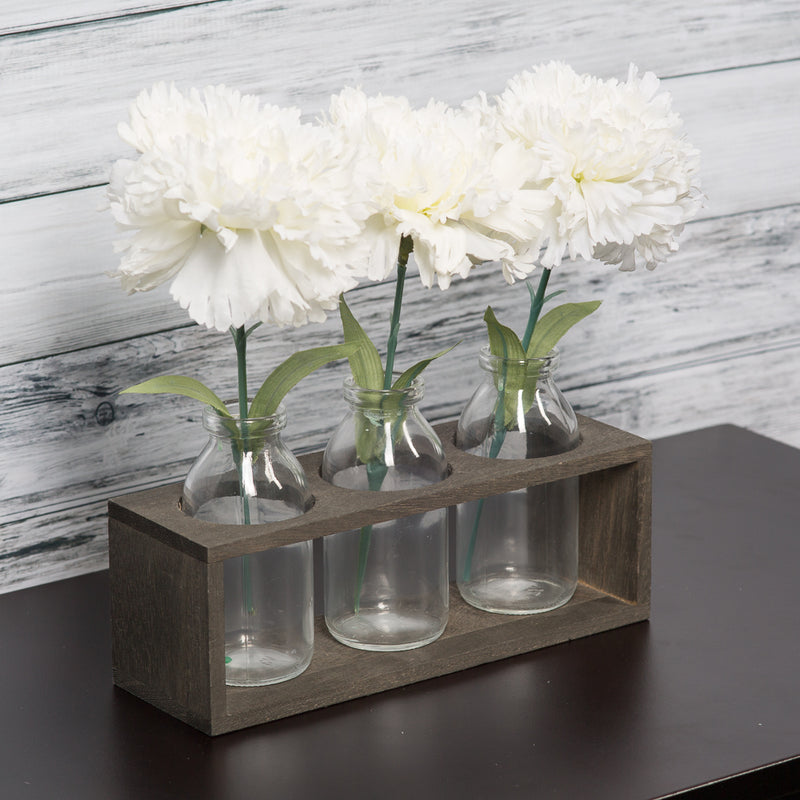 Richland Vintage Milk Bottle Vases With Wooden Stand