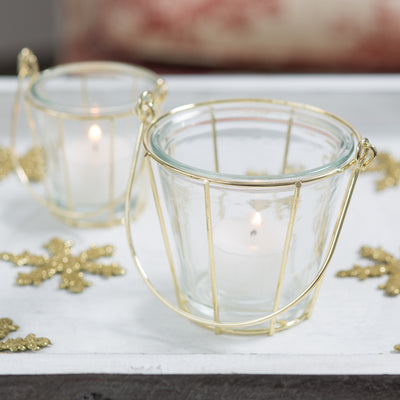 Richland Glass & Gold Hanging Holder Basket - Medium Set of 6