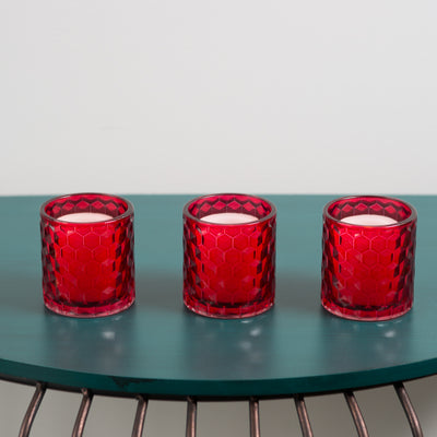 Richland Red Chunky Honeycomb Glass Votive & Tealight Holder Set of 12