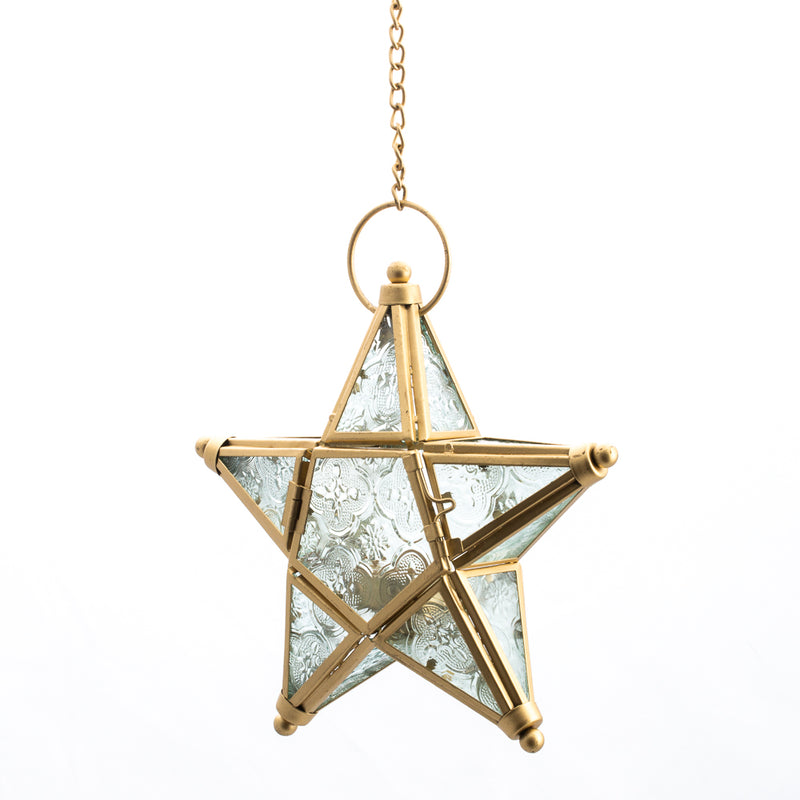 Richland Hanging Star Metal Tealight Lantern Gold with Clear Embossed Glass