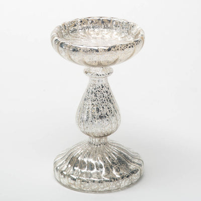 "Richland 7"" Ribbed Unique Mercury Glass Pillar Candle Holder"
