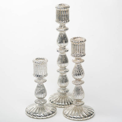 Richland Ribbed Unique Mercury Glass Taper Candle Holder  7""