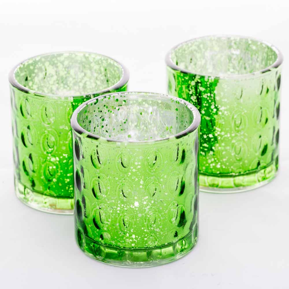 Richland Votive Holder Pinched Green Mercury Set of 6