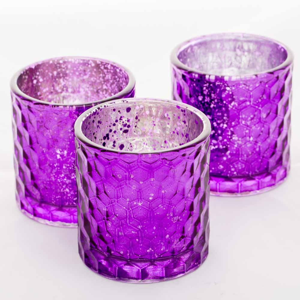 Richland Votive Holder Honeycomb Purple Mercury Set of 6