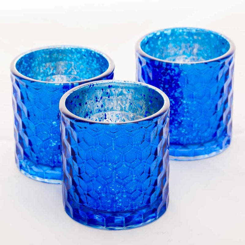 Richland Votive Holder Honeycomb Blue Mercury Set of 6
