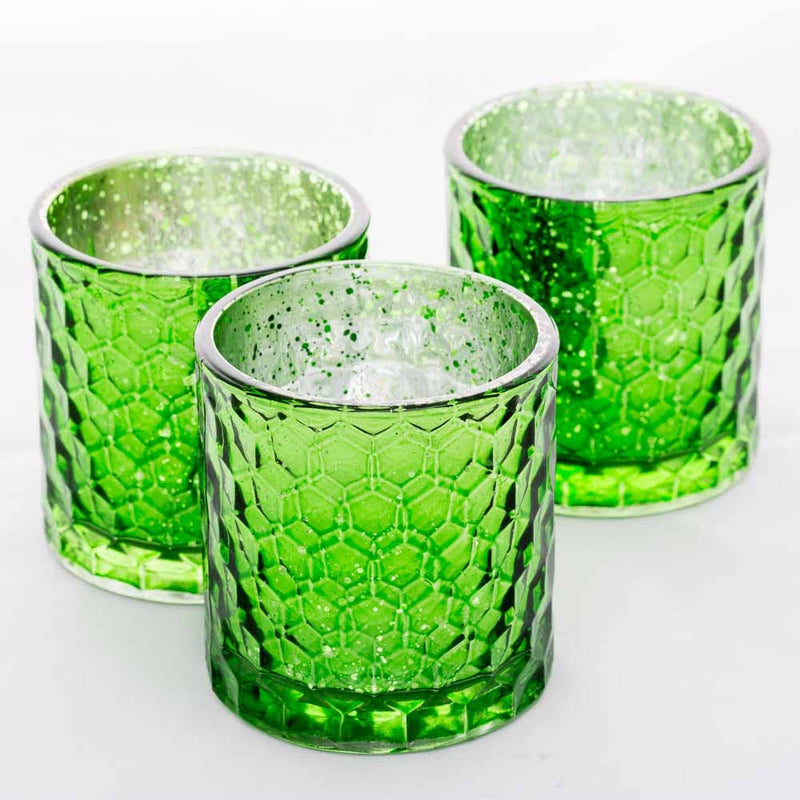 Richland Votive Holder Honeycomb Green Mercury Set of 6