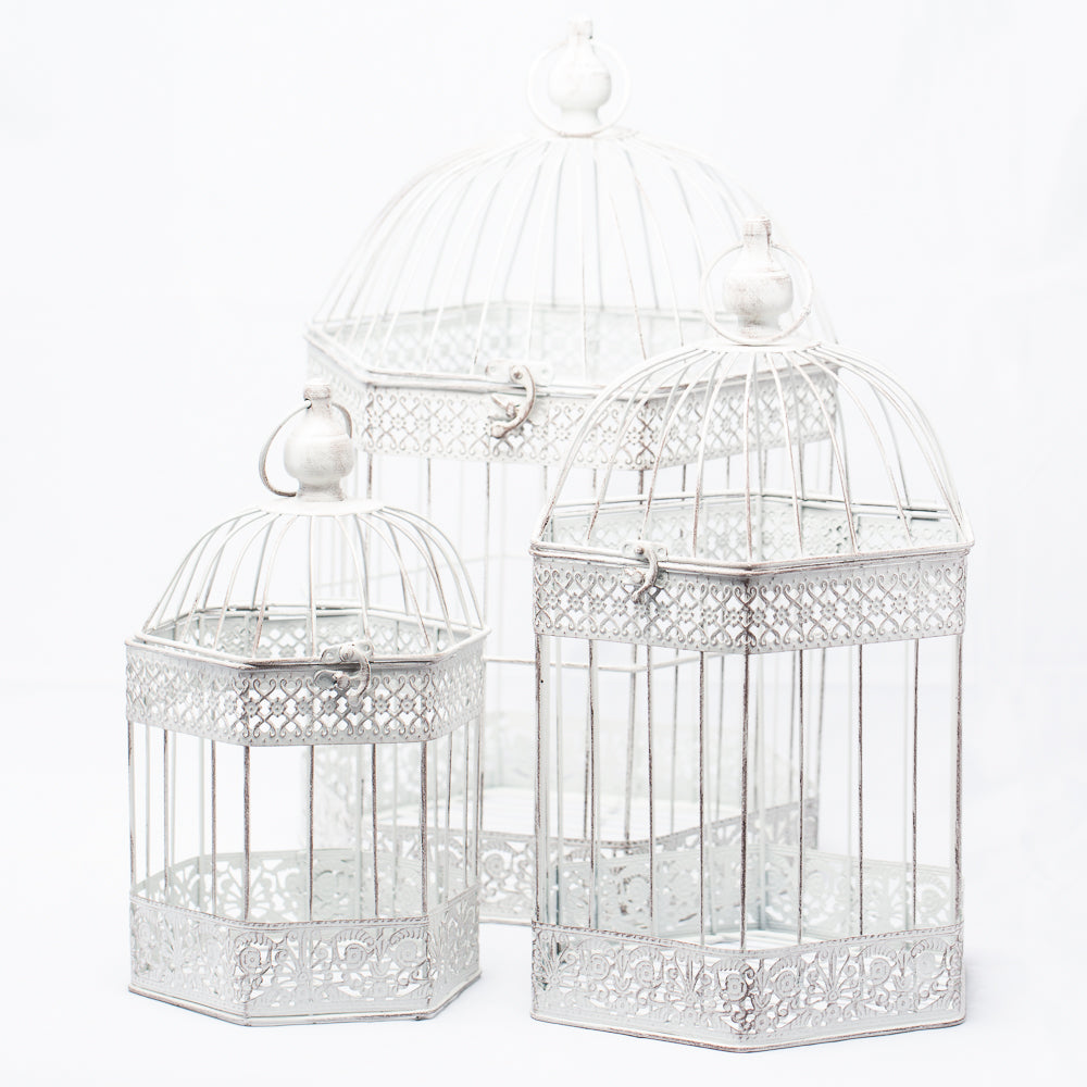 Richland Lettie Bird Cage - Antique White Set of 3