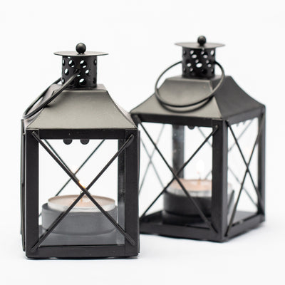 Richland Mini Tealight Lanterns Black Metal Set of 25