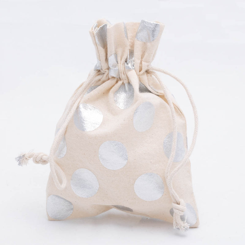 "Richland Cotton Bag 5"" x 7"" with Silver Dots Set of 12"
