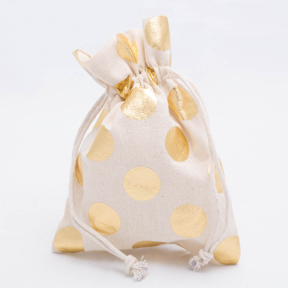 "Richland Cotton Bag 5"" x 7"" with Gold Dots Set of 12"