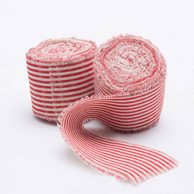 "Richland Ribbon Linen Fringed Edge 2"" x 5 Yards with Red Lines Set of 12"