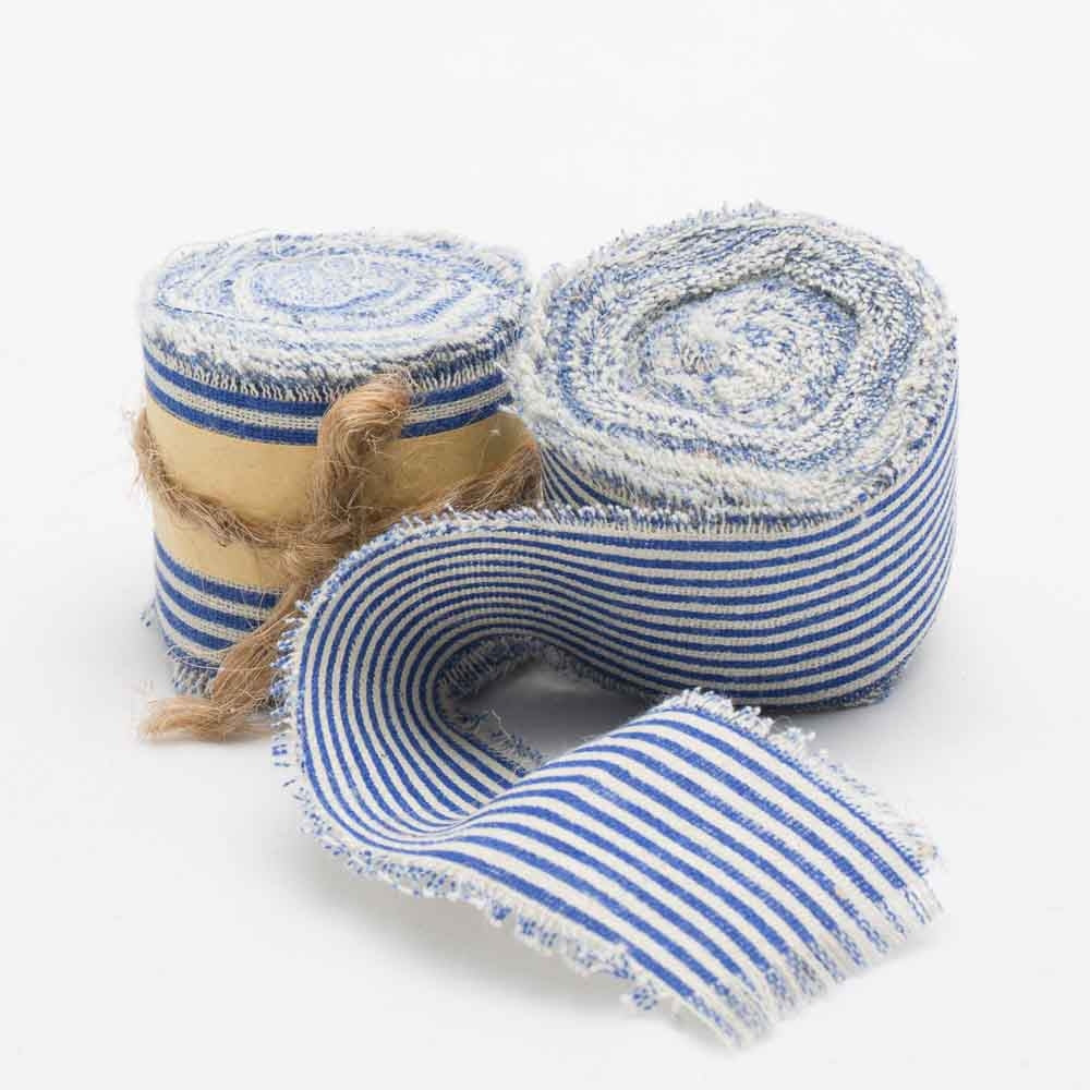 "Richland Ribbon Linen Fringed Edge 2"" x 5 Yards with Blue Lines Set of 12"