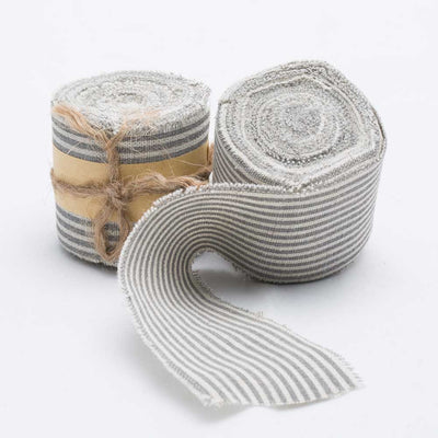 richland ribbon linen fringed edge 2 x 5 yards with pewter grey lines set of 12