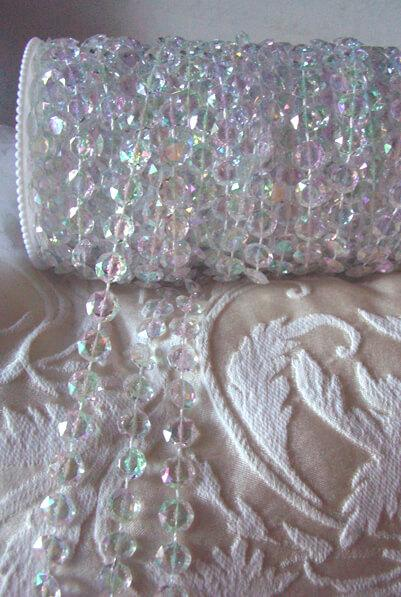 Iridescent Acrylic Crystal Garland Flat Rounds 99ft