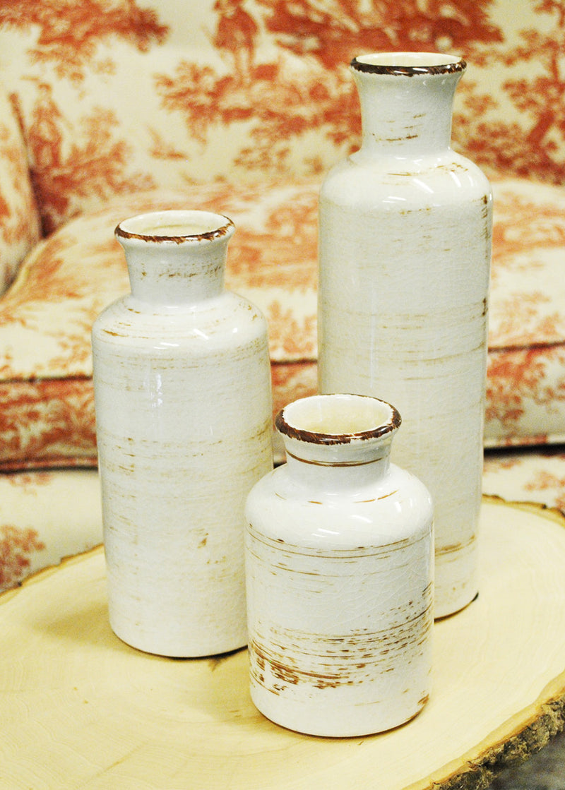 "Richland Farmhouse White Ceramic Vase 5"", 7.5"" & 10"" Set of 3"