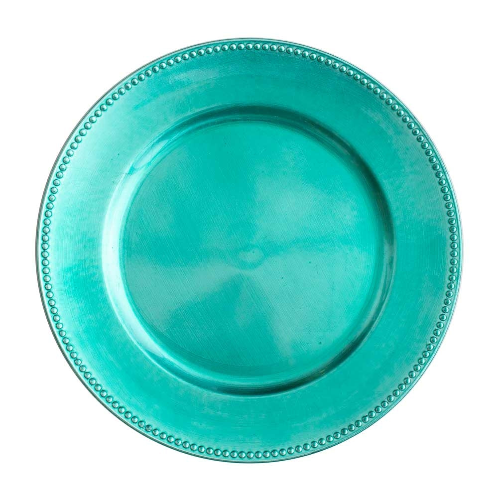 "Richland Beaded Charger Plate 13"" Aqua Blue Set of 12"