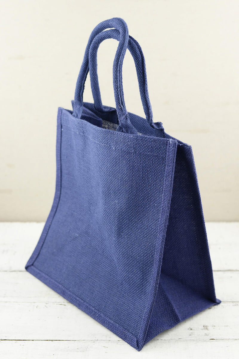 Blue Burlap 12x12 Euro Tote Bag
