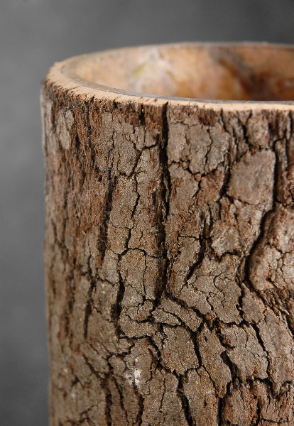 natural bark covered 10 cylinder timber vases
