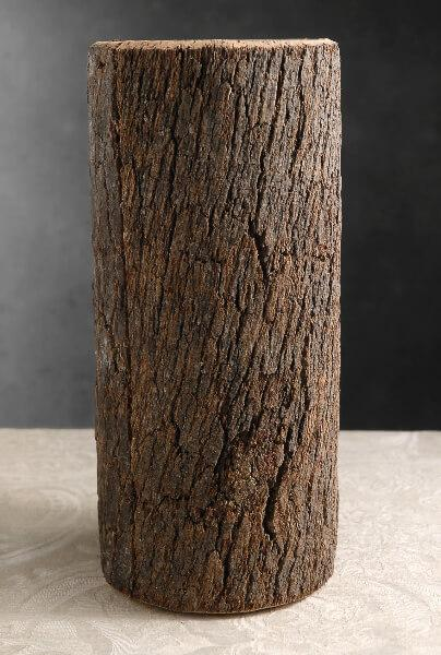 "Natural Bark Covered 12"" Cylinder Glass Timber Vases"