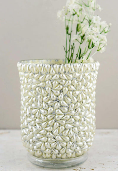 pearl beaded hurricane vase candle holder 6