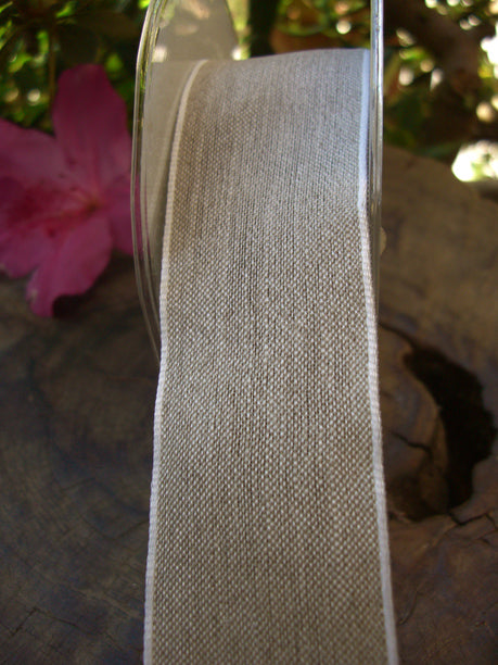 "Fine Linen Wired 1.5"" Wide Ribbon White Edge 22ft"