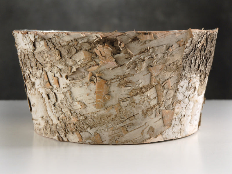 natural birch bark zinc planter pot 4x8