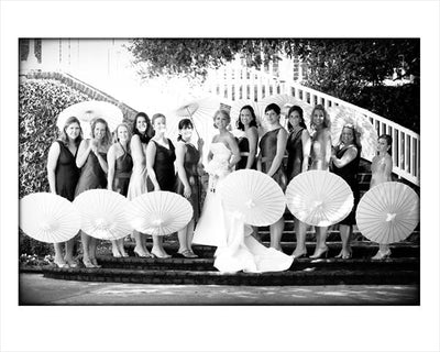 white bamboo 32in parasols wedding parasols