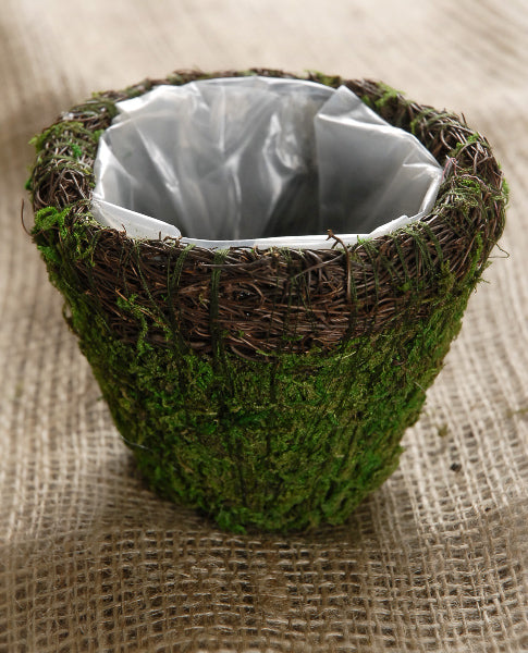 wicker and moss planter 5in round
