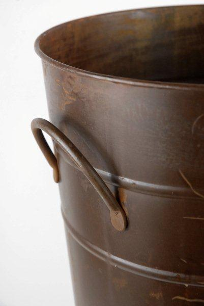22 brown rust french flower market bucket with handles 22x10