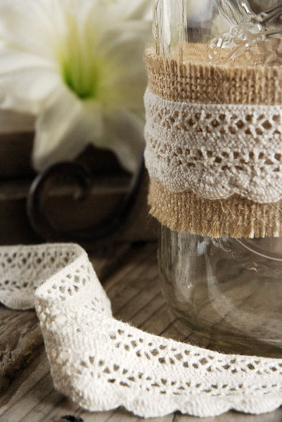 "Ivory Cotton Crochet Ribbon 1.25"" x 10 yards"
