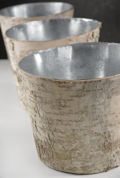 birch bark centerpiece vase 7in zinc planter