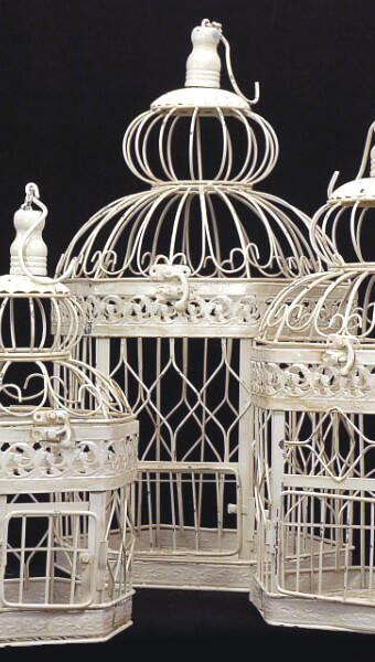 Richland Vintage Birdcages Set of 3 Ivory Metal