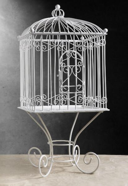 Large Metal Vintage Bird Cage on Stand   21in