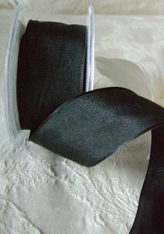 Black Wired Taffeta Ribbon   1.5in x 9 yds