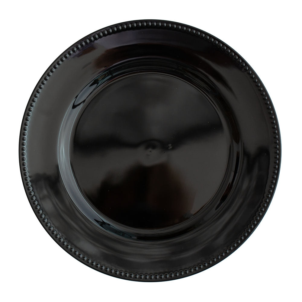 "Richland Beaded Charger Plate 13"" Black Set of 24"
