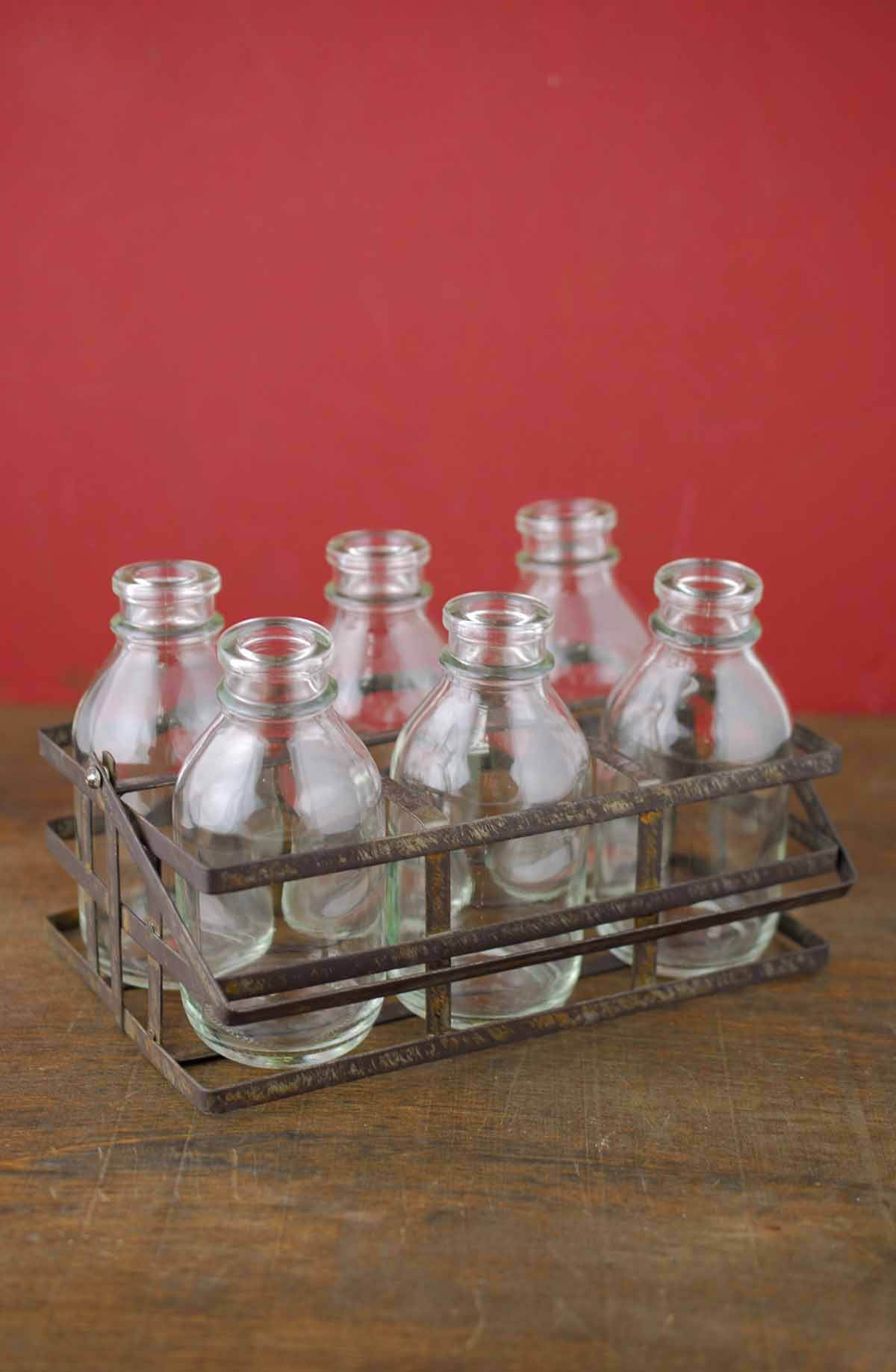 Bottle Basket Caddy with 6 Glass Bottles 4x7