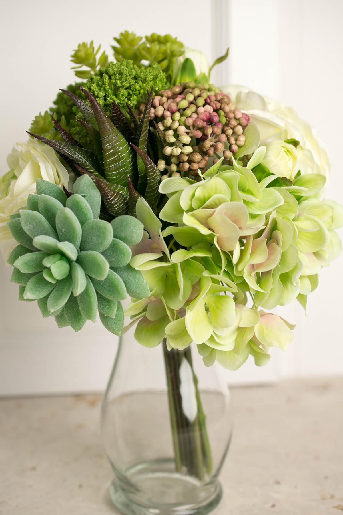 Faux Hydrangea Rose Succulent Bouquet In Green And White 12 Tall Save On Crafts